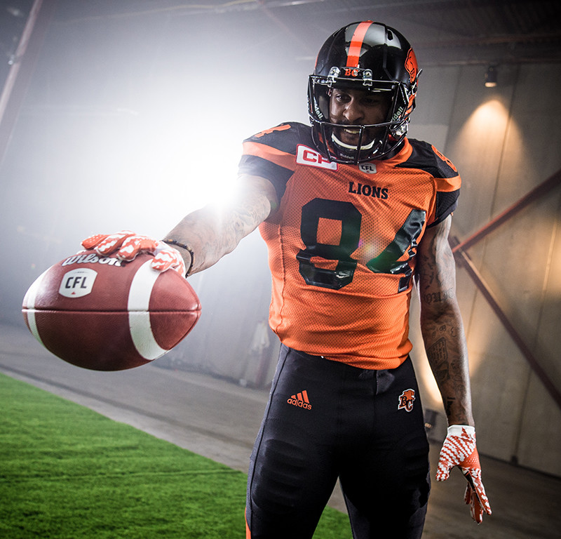 Emmanuel Arceneaux (84) of the BC Lions during the CFL / TSN shoot in Mississauga, ON. Tuesday, April 19, 2016. (Photo: Johany Jutras)