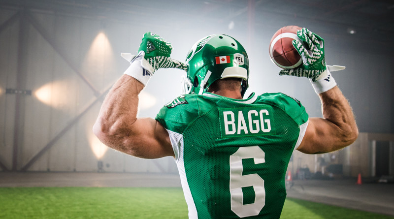 Rob Bagg (6) of the Saskatchewan Roughriders during the CFL / TSN shoot in Mississauga, ON. Tuesday, April 19, 2016. (Photo: Johany Jutras)