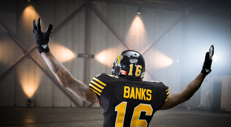 Brandon Banks (16) of the Hamilton Tiger-Cats during the CFL / TSN shoot in Mississauga, ON. Tuesday, April 19, 2016. (Photo: Johany Jutras)