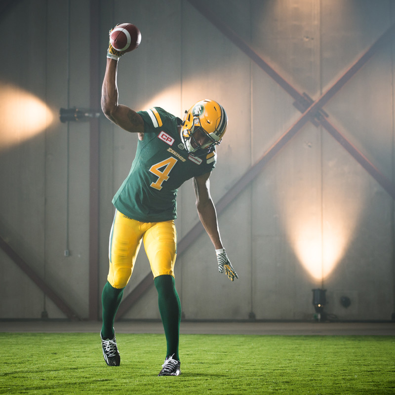 Adarius Bowman (4) of the Edmonton Eskimos during the CFL / TSN shoot in Mississauga, ON. Tuesday, April 19, 2016. (Photo: Johany Jutras)