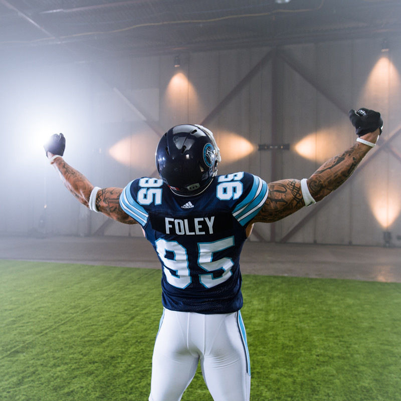 Ricky Foley (95) of the Toronto Argonauts during the CFL / TSN shoot in Mississauga, ON. Tuesday, April 19, 2016. (Photo: Johany Jutras)