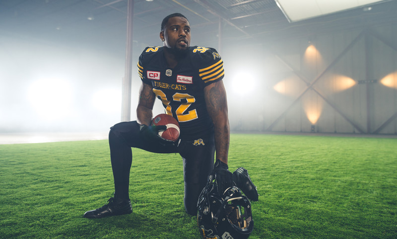 C.J. Gable (32) of the Hamilton Tiger-Cats during the CFL / TSN shoot in Mississauga, ON. Tuesday, April 19, 2016. (Photo: Johany Jutras)