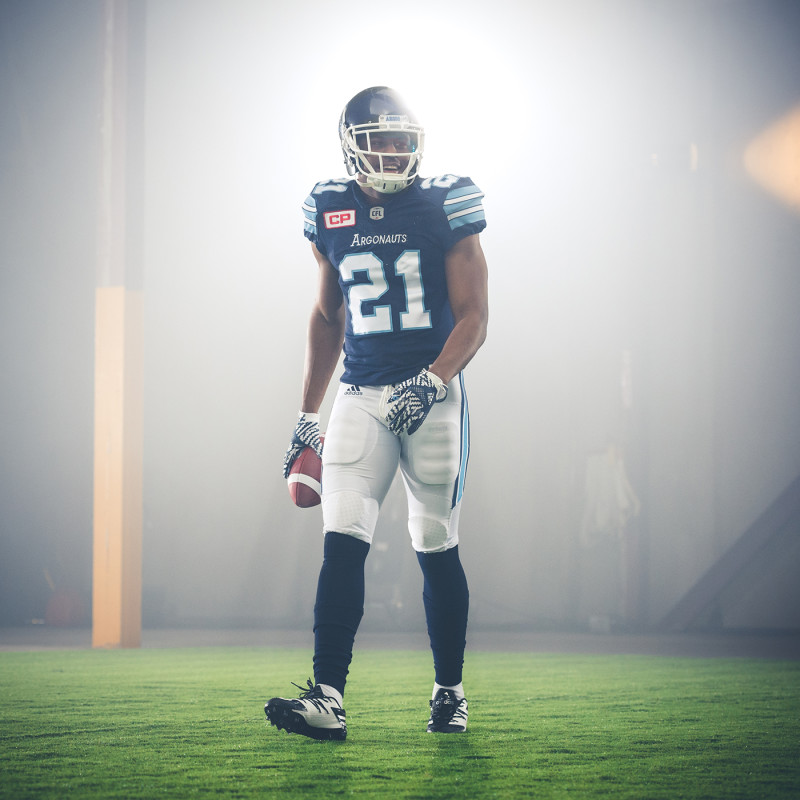 Vidal Hazelton (21) of the Toronto Argonauts during the CFL / TSN shoot in Mississauga, ON. Tuesday, April 19, 2016. (Photo: Johany Jutras)