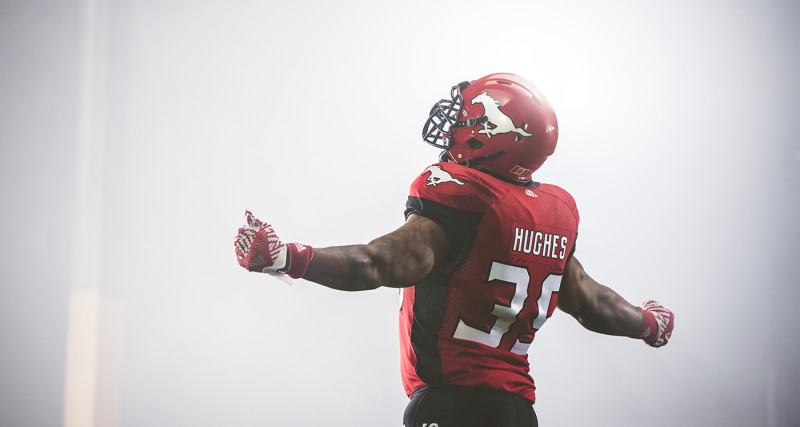 Charleston Hughes (39) of the Calgary Stampeders during the CFL / TSN shoot in Mississauga, ON. Tuesday, April 19, 2016. (Photo: Johany Jutras)