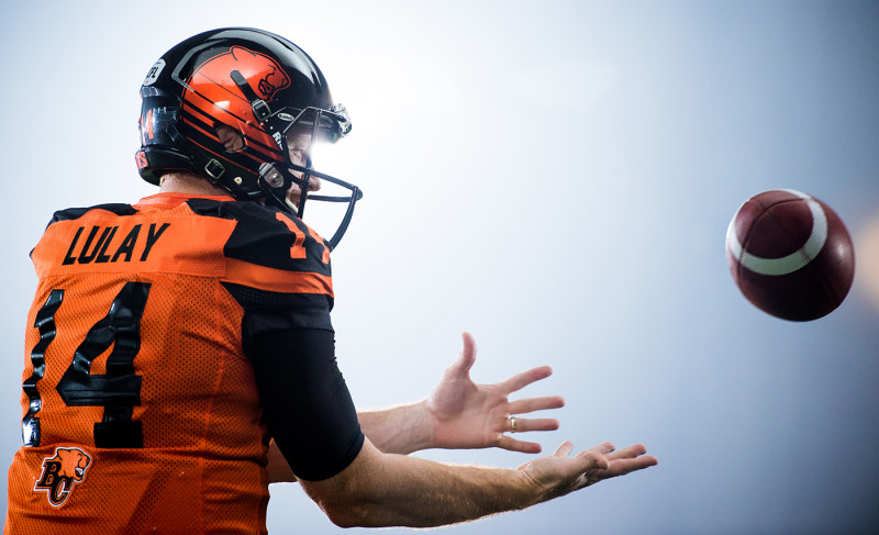Travis Lulay (14) of the BC Lions during the CFL / TSN shoot in Mississauga, ON. Tuesday, April 19, 2016. (Photo: Johany Jutras)