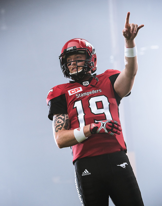 Bo Levi Mitchell of the Calgary Stampeders during the CFL / TSN shoot in Mississauga, ON. Tuesday, April 19, 2016. (Photo: Johany Jutras)