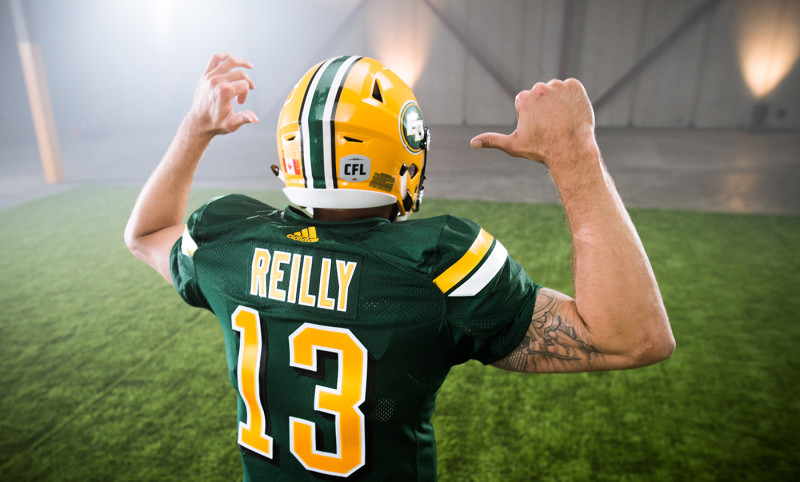 Mike Reilly (13) of the Edmonton Eskimos during the CFL / TSN shoot in Mississauga, ON. Tuesday, April 19, 2016. (Photo: Johany Jutras)
