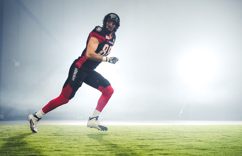 Brad Sinopoli (88) of the Ottawa REDBLACKS during the CFL / TSN shoot in Mississauga, ON. Tuesday, April 19, 2016. (Photo: Johany Jutras)
