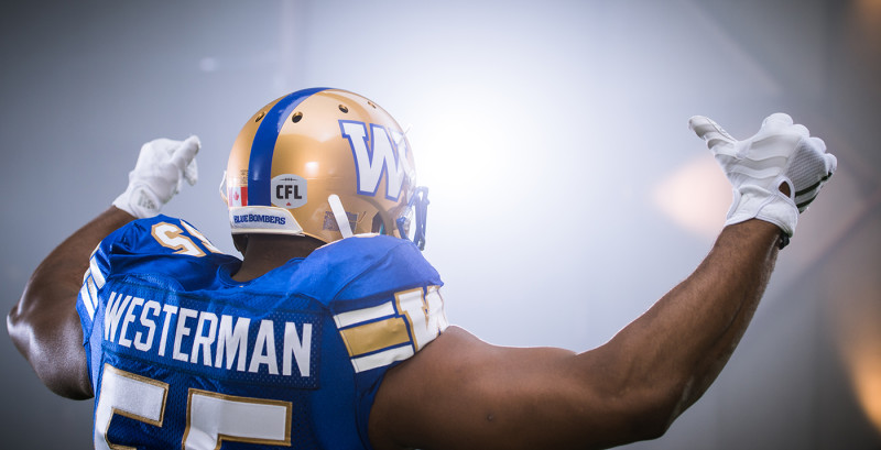 Jamaal Westerman (55) of the Winnipeg Blue Bombers during the CFL / TSN shoot in Mississauga, ON. Tuesday, April 19, 2016. (Photo: Johany Jutras)