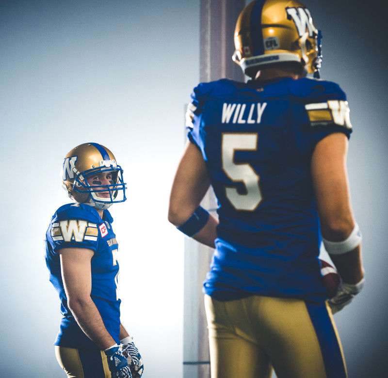 Weston Dressler (7) and Drew Willy (5) of the Winnipeg Blue Bombers during the CFL / TSN shoot in Mississauga, ON. Tuesday, April 19, 2016. (Photo: Johany Jutras)