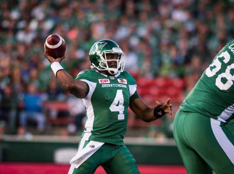 Saskatchewan Roughriders Darian Durant throws the ball during the first half of CFL action in Regina on Thursday, June 30, 2016. (CFL PHOTO - MATT SMITH)