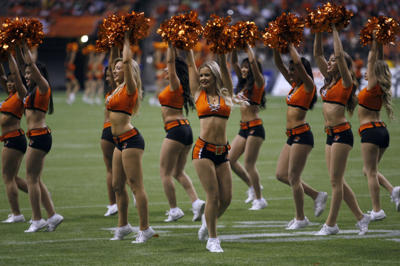BC Lions' cheerleaders during the second half of CFL action in Vancouver, B.C., on Friday, July 10, 2015. The Lions won in overtime 35-32. (CFL PHOTO Ð Chad Hipolito)