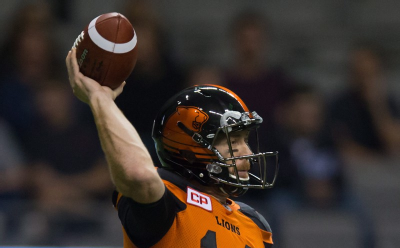B.C. Lions' quarterback Travis Lulay passes during the second half of a CFL football game against the Toronto Argonauts in Vancouver, B.C., on Thursday July 7, 2016. THE CANADIAN PRESS/Darryl Dyck