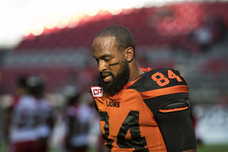 BC Lions wide receiver Emmanuel Arceneaux #84 during the warm-up of CFL action in Vancouver, B.C., on Saturday, June 25, 2016. (CFL PHOTO - Jimmy Jeong)
