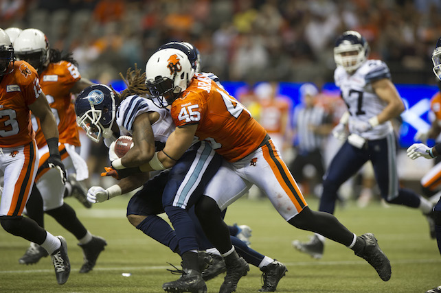 during quarter CFL action in Vancouver on Friday, September, 19, 2014. (CFL PHOTO - Richard Lam)