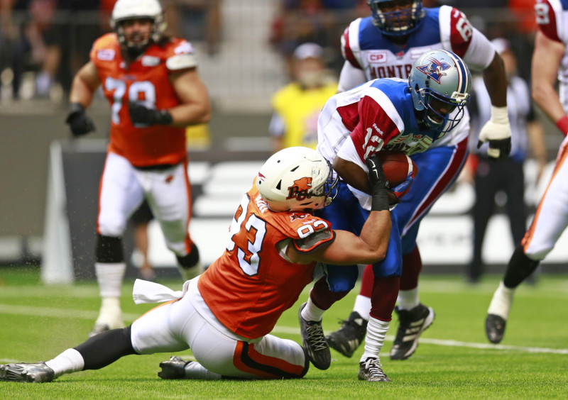 VANCOUVER, BC: AUGUST 20, 2015 - The Montreal Alouettes play the BC Lions at BC Place in Vancouver, Canada August 20, 2015. Photo by Jeff Vinnick