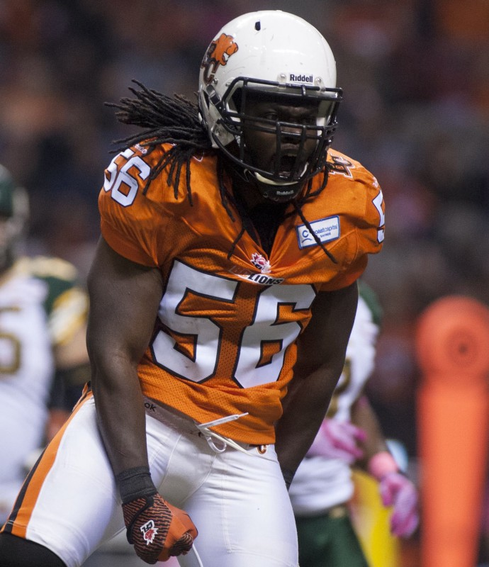 B.C. Lions' Solomon Elimimian celebrates a tackle during first half CFL football action versus the Edmonton Eskimos in Vancouver, B.C. on Friday, Oct. 25, 2013. (CFL PHOTO - Geoff Howe)