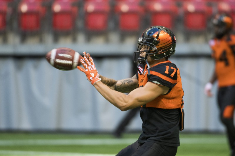 BC Lions wide receiver Nick Moore #17 during the warm-up of CFL action in Vancouver, B.C., on Saturday, June 25, 2016. (CFL PHOTO - Jimmy Jeong)