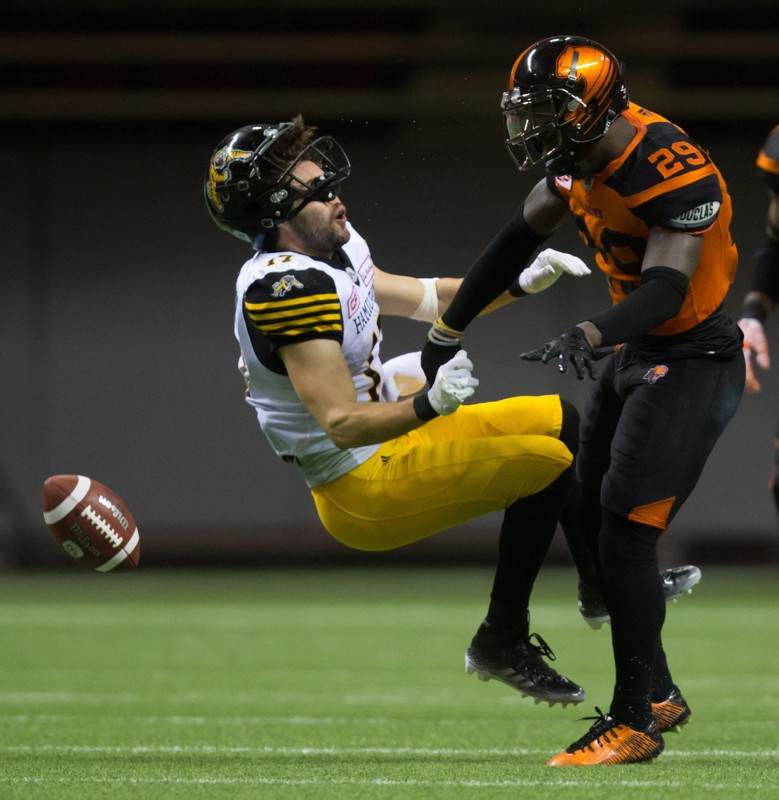 Hamilton Tiger-Cats' Luke Tasker, left, is hit by B.C. Lions' Steven Clarke as he fails to make the reception during the second half of a CFL football game in Vancouver, B.C., on Saturday August 13, 2016. THE CANADIAN PRESS/Darryl Dyck