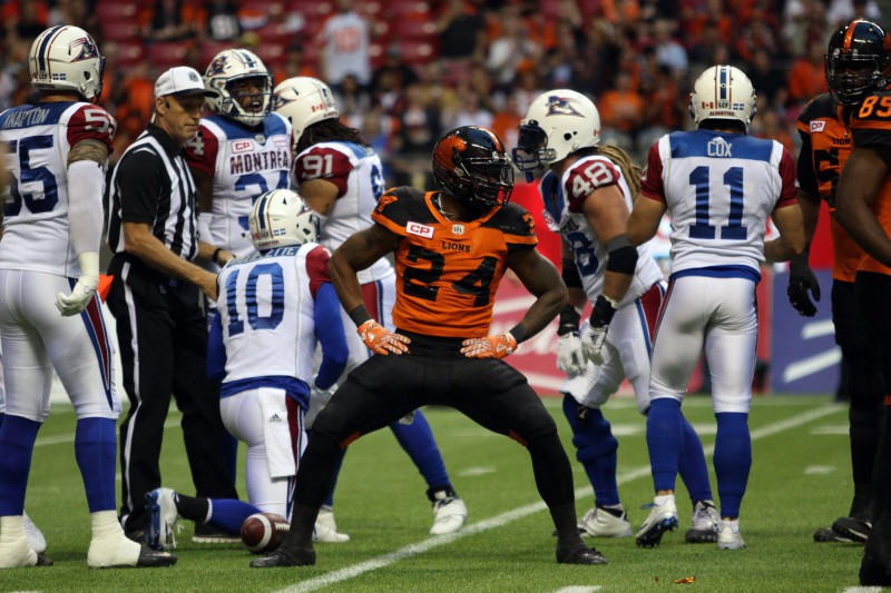BC Lions' Jeremiah Johnson celebrates after a play during the first half of CFL action in Vancouver, B.C., on Friday, Sept 9, 2016. (CFL PHOTO Ð Chad Hipolito)