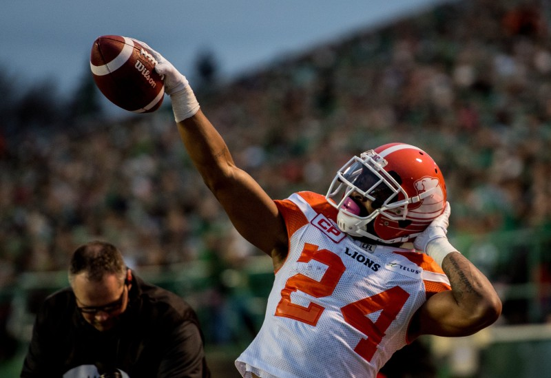 Jeremiah Johnson #24 of the BC Lions celebrates a touchdown during the first half of CFL action against the Saskatchewan Roughriders in Regina on Saturday, October 29, 2016. (CFL PHOTO - MATT SMITH)