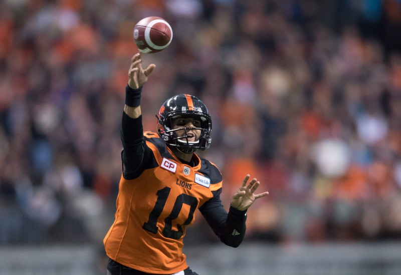B.C. Lions' quarterback Jonathon Jennings passes against the Winnipeg Blue Bombers during first half western semifinal CFL football action in Vancouver, B.C., on Sunday November 13, 2016. THE CANADIAN PRESS/Darryl Dyck