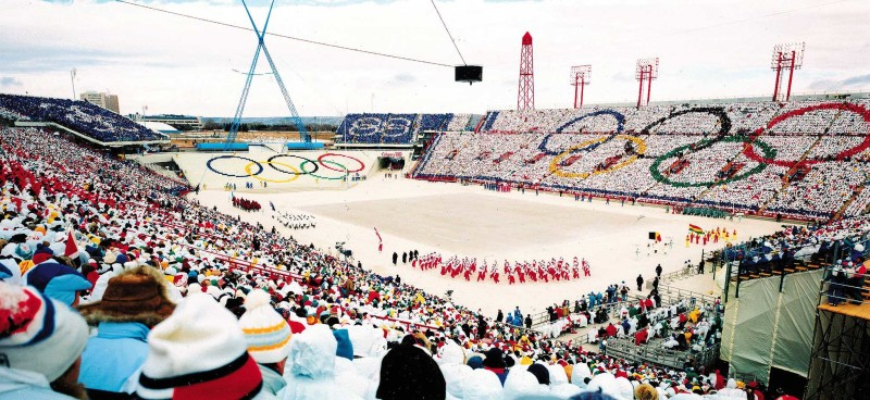1988 Winter Olympics in Calgary; opening ceremonies at McMahon Stadium