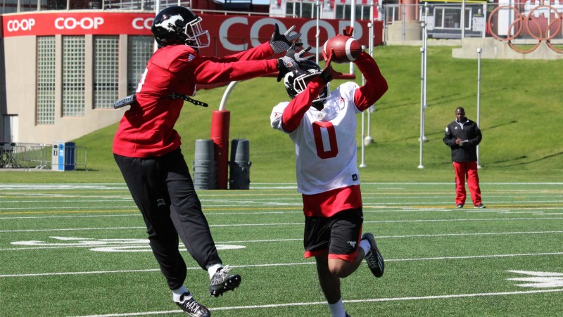 Defensive back Ciante Evans during 2016 Stamps training camp