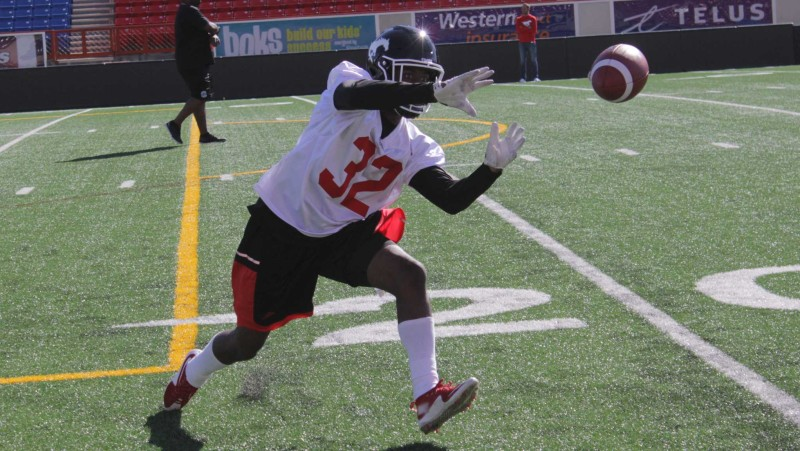 Defensive back Osagie Odiase during 2016 Stamps training camp