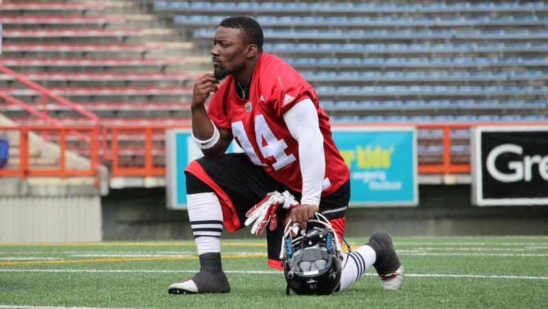 Running back and kick returner Roy Finch during 2016 Stamps training camp