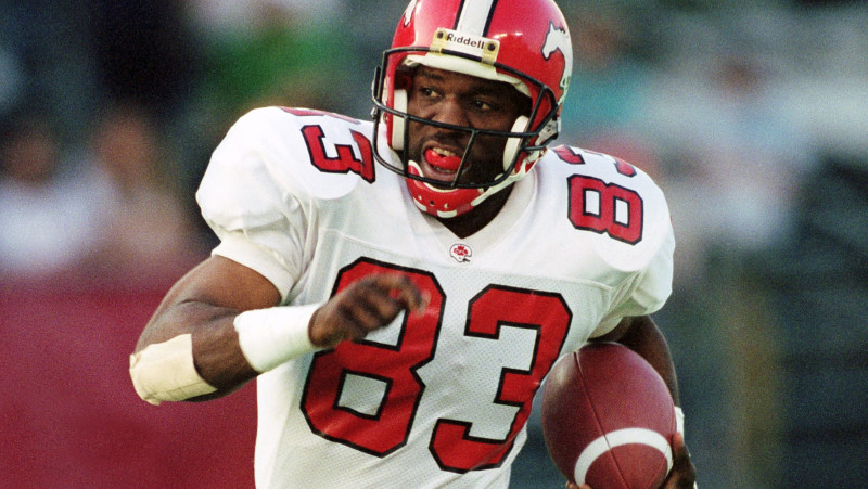 Derrick Crawford with the Calgary Stampeders in 1992 (Photo by Scott Grant)