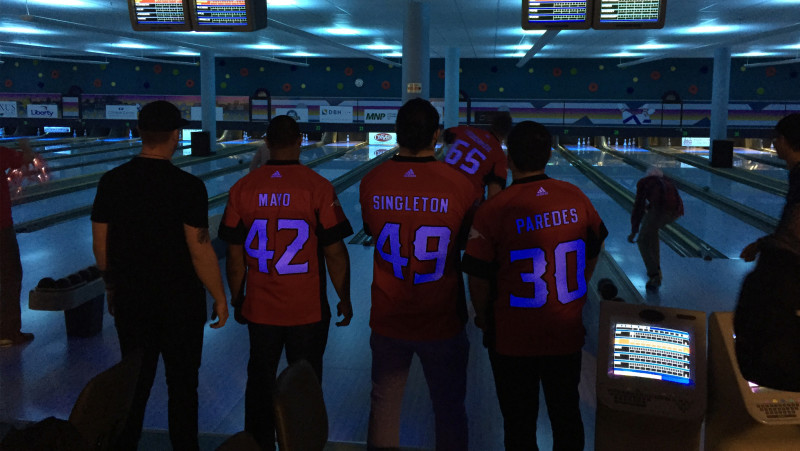 Stamps players take part in Bowl for Kids