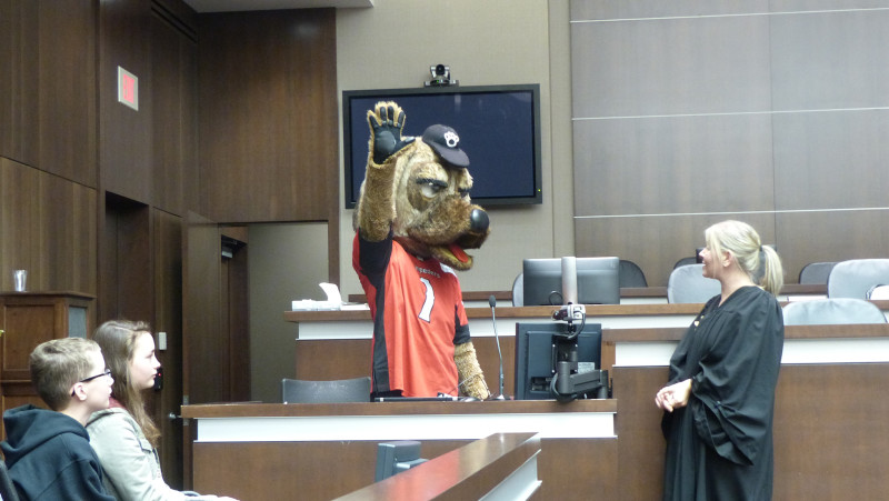 Ralph takes the stand as part of his mock custody trial at Law Day on Apr. 22, 2017