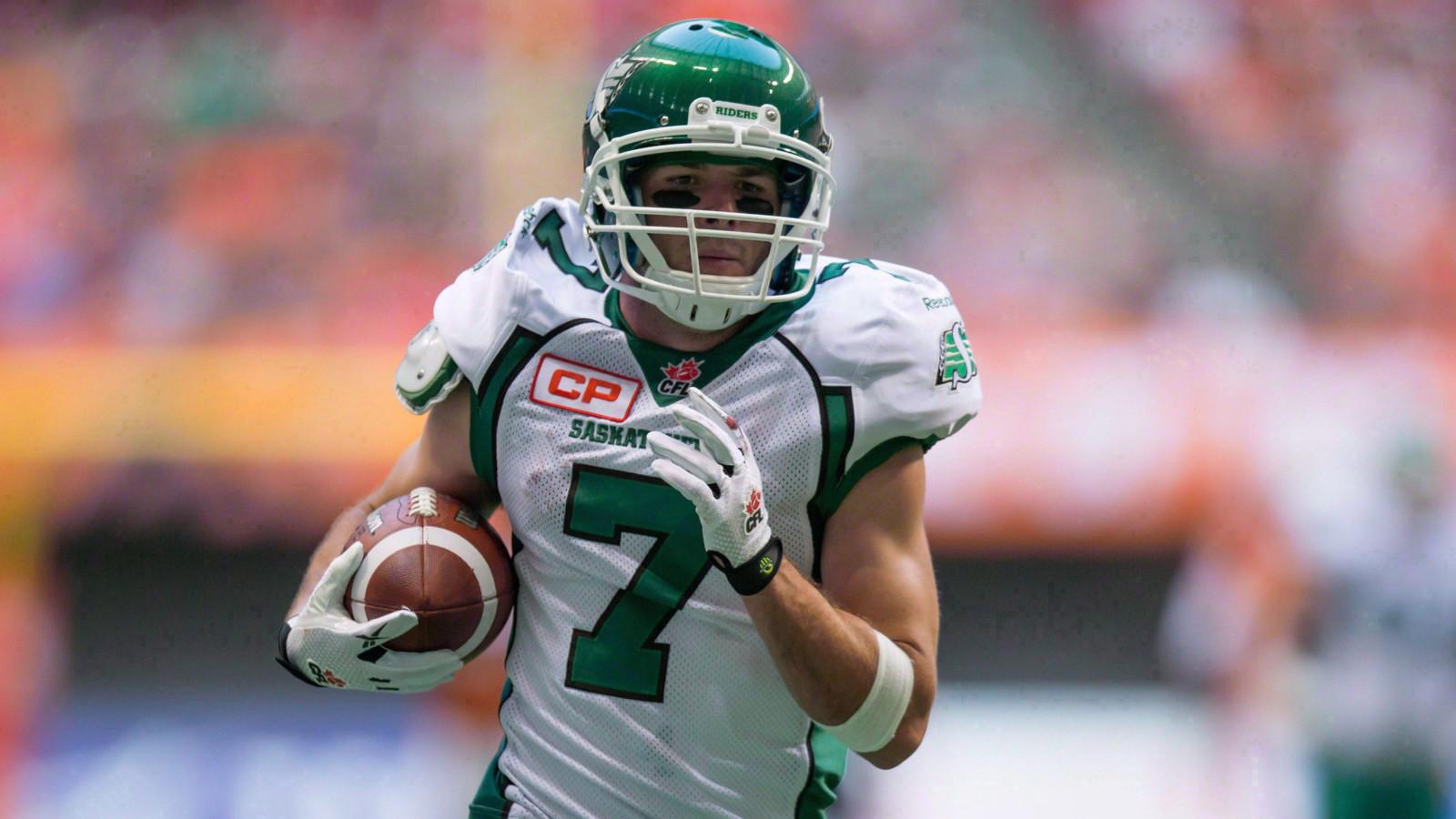 Saskatchewan Roughriders  Weston Dressler scores a touchdown against the  B.C. Lions during the first half fa8df27d1