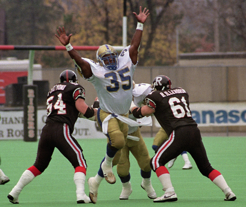 Tyrone Jones Winnipeg Blue Bombers 1992. Photo John Bradley