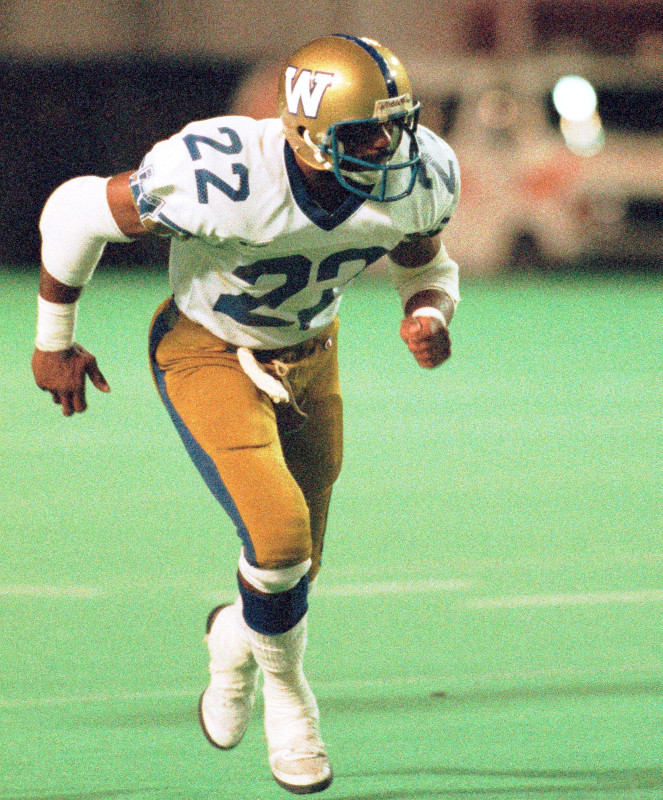 Perry Tuttle Winnipeg Blue Bombers 1986. Photo F. Scott Grant