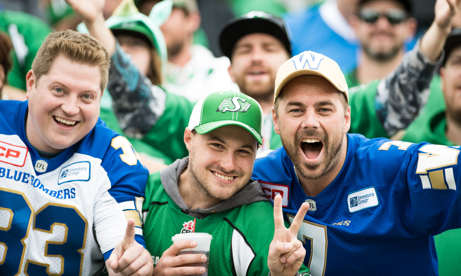 CFL fans during the Labour Day game between the Saskatchewan Roughriders and the Winnipeg Blue Bombers at Mosaic Stadium in Regina, SK. Sunday, September 4, 2016. (Photo: Johany Jutras)
