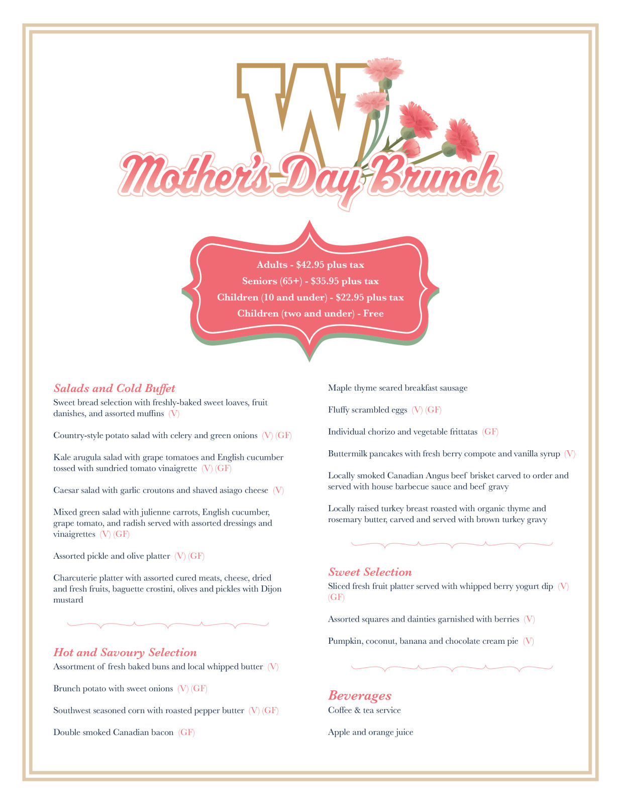 2017 Mother's Day Brunch Menu