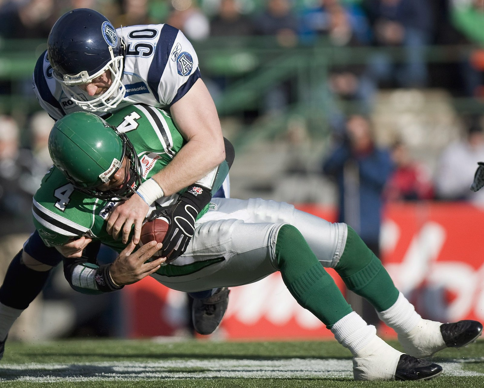 Toronto Argonauts Mike O'Shea sacks Saskatchewan Roughriders QB Kerry Joseph in first quarter CFL action on Saturday, Nov.3, 2007 in Regina, Sask. THE CANADIAN PRESS/Troy Fleece