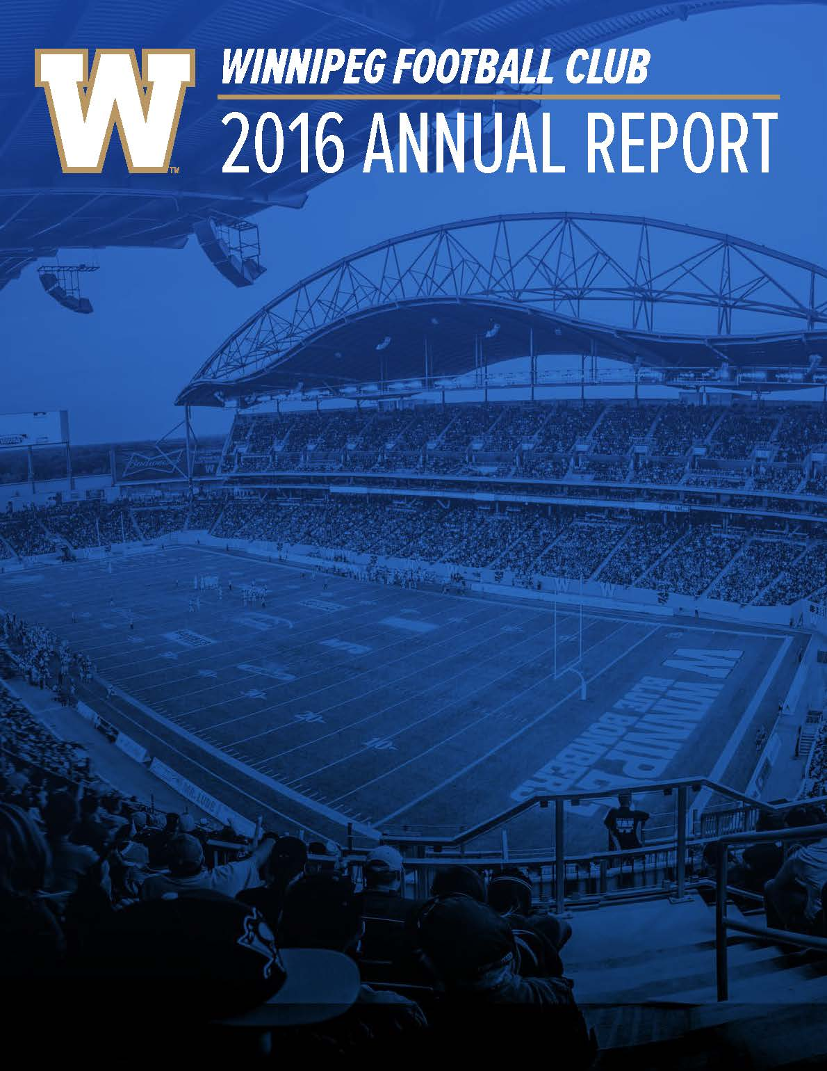 Blue Bombers 2016 Annual Report - Cover Page