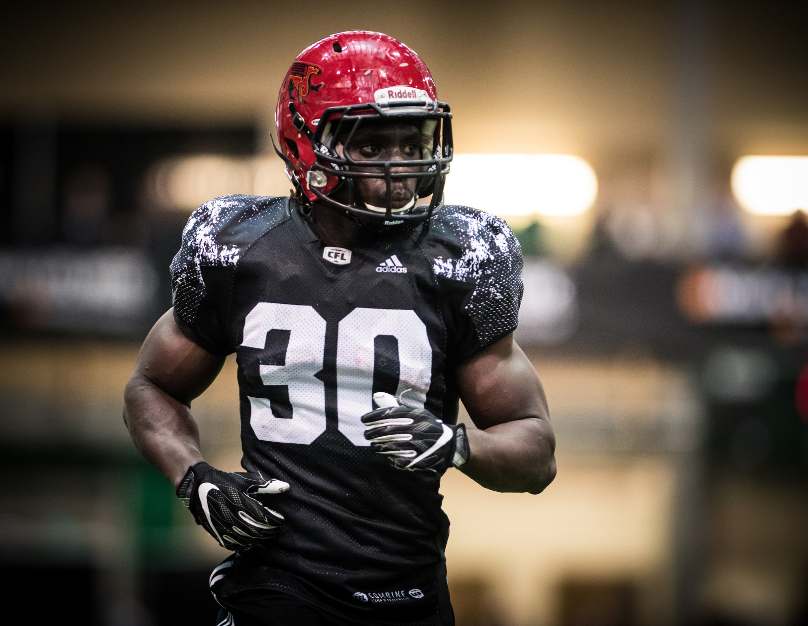 Johnny Augustine RB (Guelph) during the 2017 CFL combine in Regina, SK., Saturday, March 25, 2017. (Photo: Johany Jutras)