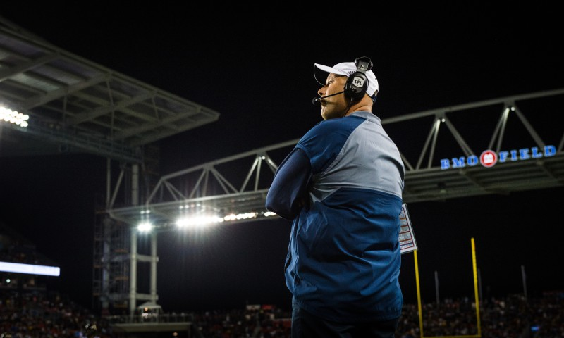 Toronto Argonauts head coach Scott Milanovich during the home opener game at BMO Field in Toronto, ON. on Thursday, June 23, 2016.  (Photo: Johany Jutras / Toronto Argonauts)
