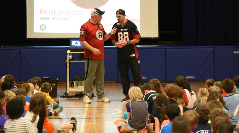 Mark Sluban and Brad Sinopoli talking to kids at school program