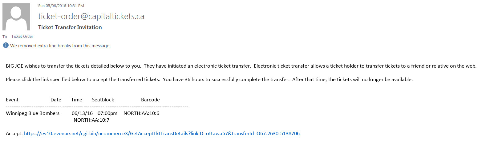 ticket card transferring your tickets ottawa redblacks step 5 email is sent to the recipient of the ticket transfer