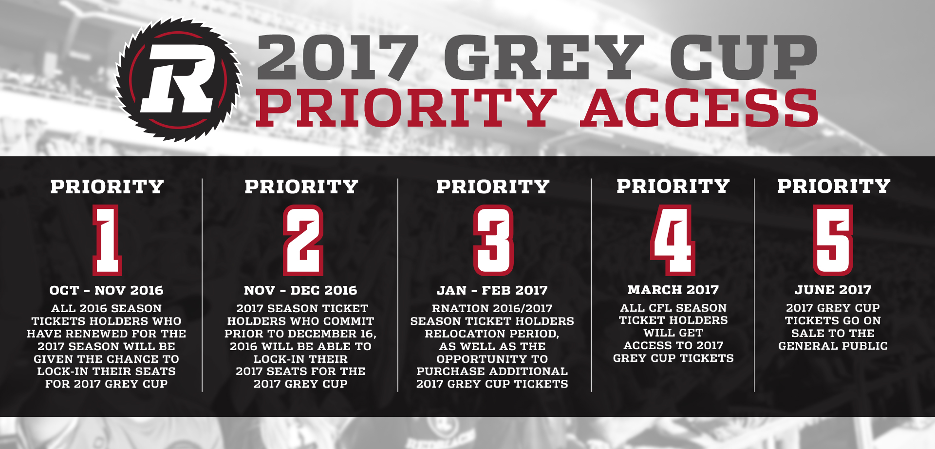 2017 Grey up Priority Access Dates for Grey Cup Tickets