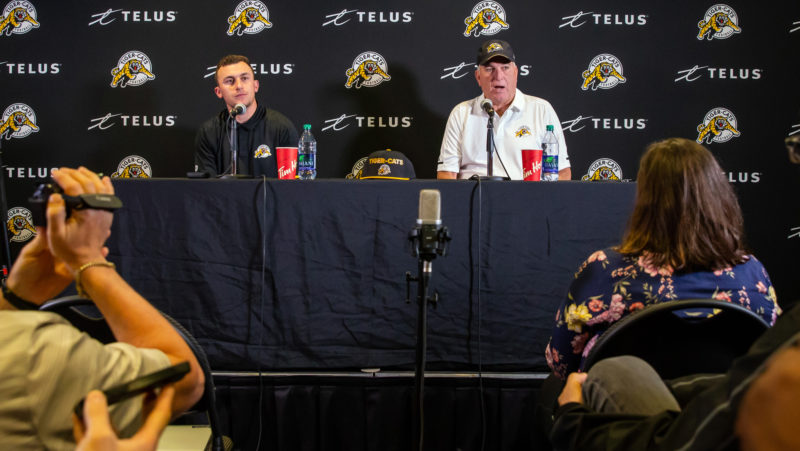 Johnny Manziel and June Jones answer questions during Saturday s press  conference (Kevin Sousa CFL.ca) f71cc200b