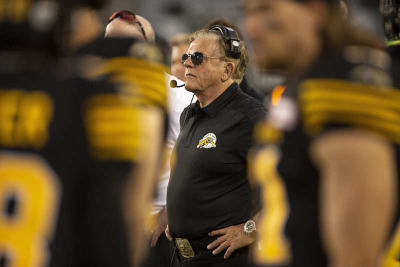 Hamilton Tiger-Cats defensive co-ordinator Jerry Glanville on the sidelines during the first half of CFL Football exhibition game action against the Toronto Argonauts in Hamilton, Ont. on Friday, June 1, 2018. THE CANADIAN PRESS/Peter Power