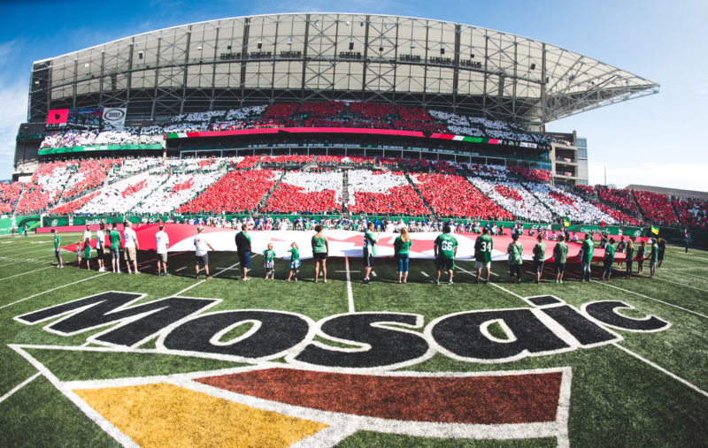 Card stunt before the Labour Day Classic game between the Saskatchewan Roughriders and the Winnipeg Blue Bombers at Mosaic Stadium in Regina SK, Sunday September 3, 2017. (Photo: Johany Jutras)