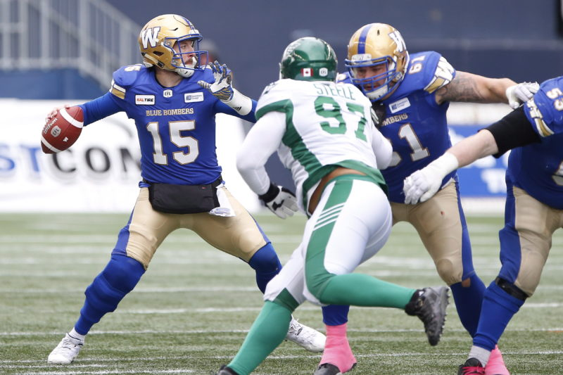 Winnipeg Blue Bombers quarterback Matt Nichols (15) throws agent the Saskatchewan Roughriders during the first half of CFL action in Winnipeg Saturday, October 13, 2018. THE CANADIAN PRESS/John Woods