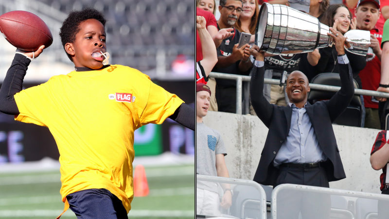 Nathaniel Assivero (left) got a call from former REDBLACKS QB Henry Burris (right) this weekend.